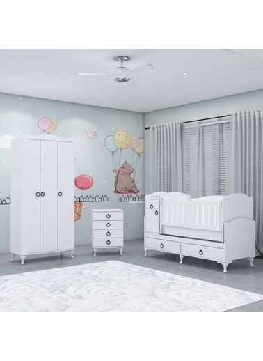 Garaj Home Garaj Home Sude Asansörlü Yıldız 3 Kapaklı Bebek Odası Takımı Renkli